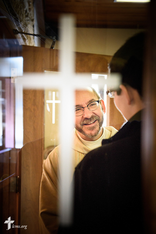 The Rev. Peter Bender, pastor of Peace Lutheran Church in Sussex, Wis., greets members and guests following worship on Transfiguration Sunday, Feb. 7, 2016, at the church in Sussex. LCMS Communications/Erik M. Lunsford