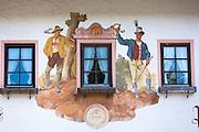 Detail of Gasthof Post Klais hotel in the village of Klais in Bavaria, Germany
