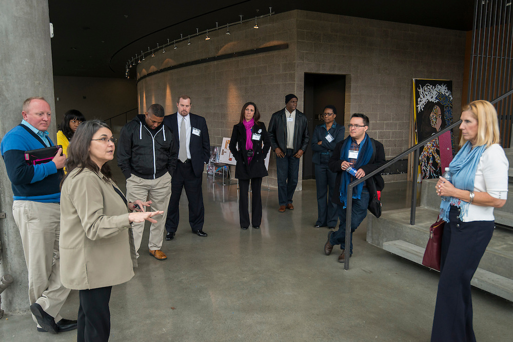 Project advisory team members, architects and Houston ISD staff tour the Nathan Hale High School in Seattle, January 22, 2014.