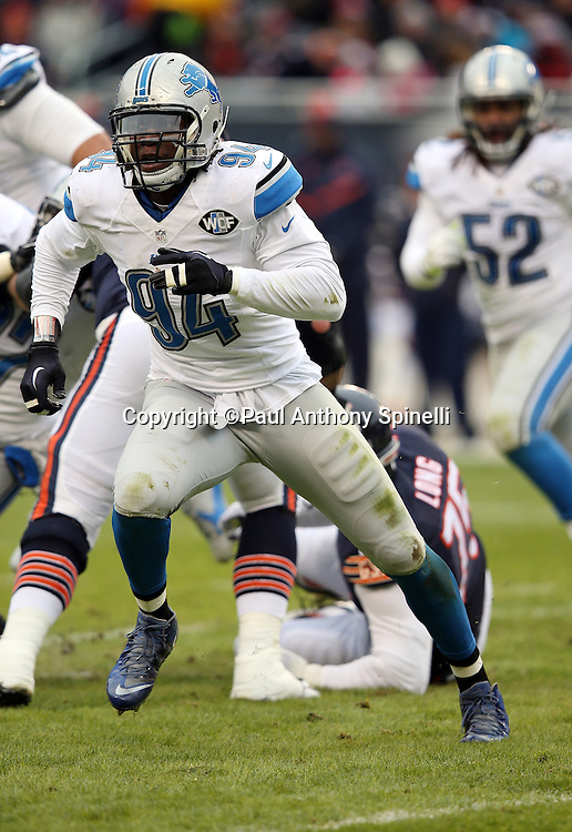 Detroit Lions defensive end Ezekiel Ansah (94) chases the action during the NFL week 17 regular season football game against the Chicago Bears on Sunday, Jan. 3, 2016 in Chicago. The Lions won the game 24-20. (©Paul Anthony Spinelli)