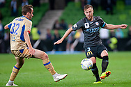 Melbourne City defender Scott Jamieson (3) passes the ball at the FFA Cup Round 16 soccer match between Melbourne City FC v Newcastle Jets at AAMI Park in Melbourne.