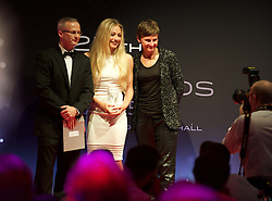 CARDIFF, WALES - Monday, October 5, 2015: Wales' Charlie Estcourt receives the Womens' Young Player of the Year Award from Edwards Holidays Stewart Isaac and Professor Laura McAllister during the FAW Awards Dinner at Cardiff City Hall. (Pic by Ian Cook/Propaganda)