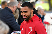 Callum Wilson (13) of AFC Bournemouth meets the fans as he arrives ahead of the Premier League match between Bournemouth and Norwich City at the Vitality Stadium, Bournemouth, England on 19 October 2019.