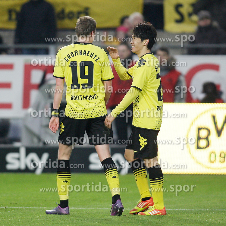 "28.01.2012, Signal Iduna Park, Dortmund, GER, 1. FBL, Borussia Dortmund vs 1899 Hoffenheim, 19. Spieltag, im Bild Jubel nach dem Tor zum 3:0 bei den Dortmunder Spielern, v.l. Kevin Grosskreutz (Borussia Dortmund), Shinji Kagawa (Borussia Dortmund), Freisteller // during the football match of the german ""Bundesliga"", 19th round, between GER, 1. FBL, Borussia Dortmund and 1899 Hoffenheim, at the Signal Iduna Park, Dortmund, Germany on 2012/01/28. EXPA Pictures © 2012, PhotoCredit: EXPA/ Eibner/ Oliver Vogler..***** ATTENTION - OUT OF GER *****"