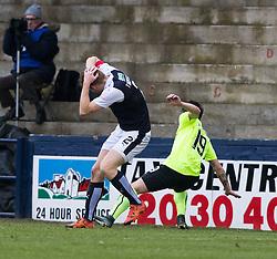 Raith Rovers Jason Thomson and Hibernian's James Keating clash heads. Raith Rovers 1 v 1 Hibernian, Scottish Championship game played 18/2/2017 at Starks Park.