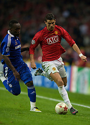 MOSCOW, RUSSIA - Wednesday, May 21, 2008: Manchester United's Cristiano Ronaldo in action against Chelsea during the UEFA Champions League Final at the Luzhniki Stadium. (Photo by David Rawcliffe/Propaganda)