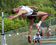 Germany's Marian Geisler clears the bar in the high jump with a jump of 1.97 meters, at the Nike Combined Events Challenge at the R.V. Christian Track Complex on the campus of Kansas State University in Manhattan, Kansas, August 5, 2006.