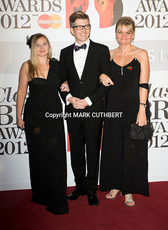 Maria Dudley, Gareth Malone and Eden Bowl arriving at the 2012 Classic Brit Awards at the Royal Albert Hall in London.