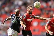 Conor Hourihane of Barnsley does battle with Nadjim Abdou of Millwall during the Sky Bet League 1 Play-off Final between Barnsley and Millwall at Wembley Stadium, London<br /> Picture by Richard Blaxall/Focus Images Ltd +44 7853 364624<br /> 29/05/2016