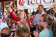 Heidi Cruz, wife of U.S. Senator Ted Cruz and GOP presidential candidate waves to supporters at the Liberty Tap Room restaurant August 7, 2015 in Mt Pleasant, South Carolina. The event was the kick off event of a seven-day bus tour called the Cruz Country Bus Tour of southern states.