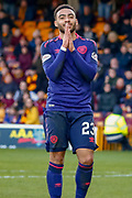 Jake Mulraney of Hearts came close to taking the points and sees his shot go past the post during the Ladbrokes Scottish Premiership match between Motherwell and Heart of Midlothian at Fir Park, Motherwell, Scotland on 17 February 2019.