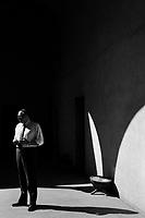 8 May 2012. Palermo, Italy. Roberto Lagalla, 57, rector of the University of Palermo, in the court of Palazzo Steri, headquarters of the University of Palermo.  ### 8 maggio 2012. Palermo, Italia. Roberto Lagalla, 57 anni, rettore dell'Università degli Studi di Palermo, nel cortile di Palazzo Steri, sede dell'Università.