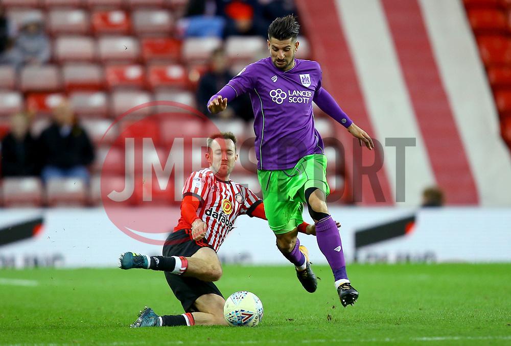Eros Pisano of Bristol City is tackled by Aidan McGeady of Sunderland - Mandatory by-line: Robbie Stephenson/JMP - 28/10/2017 - FOOTBALL - Stadium of Light - Sunderland, England - Sunderland v Bristol City - Sky Bet Championship
