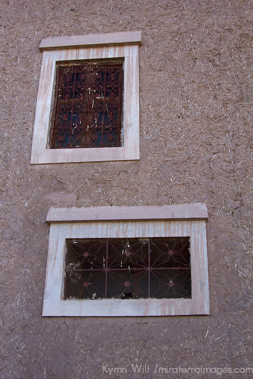 Africa, Morocco, Skoura. Kasbah windows.