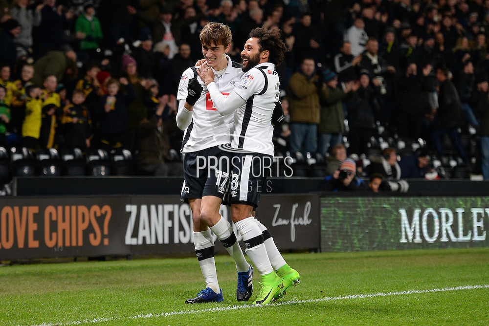 Derby County midfielder, on loan from Middlesbrough, Julien De Sart (17) celebrates  with Derby County midfielder Ikechi Anya (8) after scoring a goal to make it 1-0 during the EFL Sky Bet Championship match between Derby County and Cardiff City at the Pride Park, Derby, England on 14 February 2017. Photo by Jon Hobley.