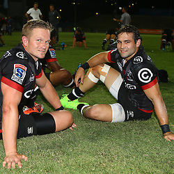 Michael Claassens of the Cell C Sharks with Cobus Reinach of the Cell C Sharks during The Cell C Sharks Pre Season warm up game 2 Cell C Sharks A and Toyota Cheetahs A,at King Zwelithini Stadium, Umlazi, Durban, South Africa. Friday, 3rd February 2017 (Photo by Steve Haag)