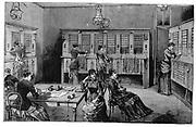 Central Telephone Exchange, rue de Lafayette, Paris, staffed by female telephonists. From Louis Figuier 'Les Nouvelles Conquetes de la Science', Paris, 1883. Engraving.