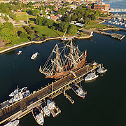 El Galeón Andalucía docked at the commercial fishing pier, opposite Prescott Park, in Portsmouth, NH during its appearance at Sail Portsmouth, July 22, 2015. Sponsored by the Piscataqua Maritime Commission.