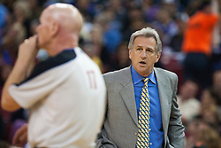 November 1, 2010; Sacramento, CA, USA;  Sacramento Kings head coach Paul Westphal argues a call with referee Joe Crawford (17) on the sidelines during the second quarter against the Toronto Raptors at the ARCO Arena.