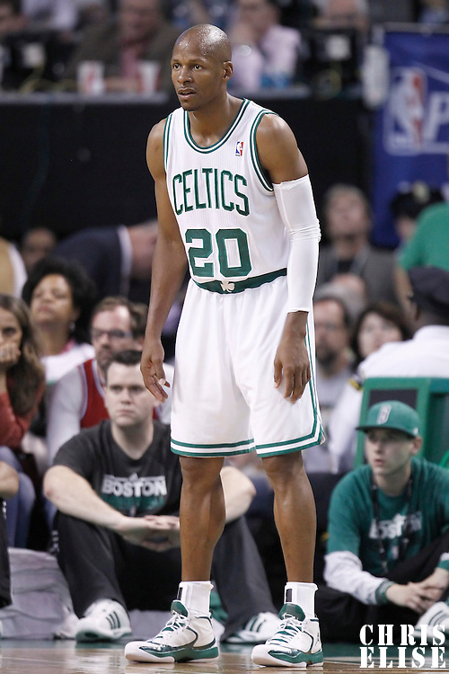 26 May 2012: Boston Celtics shooting guard Ray Allen (20) is seen during the Boston Celtics 85-75 victory over the Philadelphia Sixer, in Game 7 of the Eastern Conference semifinals playoff series, at the TD Banknorth Garden, Boston, Massachusetts, USA.