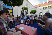 "Vienna. MuseumsQuartier (MQ Vienna) is celebrating its 10th year..""Sofa Unplugged"": Polish author Radek Knapp (l.) reading from his books."
