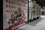 During the UK's Coronavirus pandemic lockdown and on the day when a further 255 deaths occurred, bringing the official covid deaths to 37,048, <br /> review posters for Ben Elton's West End production, Upstart Crow, are outside the Gielgud Theatre on Shaftesbury Avenue, still closed as per governmental rules, on 26th May 2020, in London, England. Theatres and other entertainment venues will be some of the last businesses to re-open as the UK pandemic lockdown improves and many theatres are already close to financial collapse.