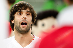 Milos Teodosic of Serbia during friendly basketball match between National teams of Slovenia and Serbia of Adecco Ex-Yu Cup 2012 as part of exhibition games 2012, on August 5, 2012, in Arena Stozice, Ljubljana, Slovenia. (Photo by Urban Urbanc / Sportida)
