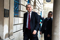 © Licensed to London News Pictures. 02/03/2018. London, UK. The Chancellor of The Exchequer Philip Hammond arrives at The Mansion House in London where Prime Minister Theresa May is giving her 'Road to Brexit' speech. Photo credit: Rob Pinney/LNP