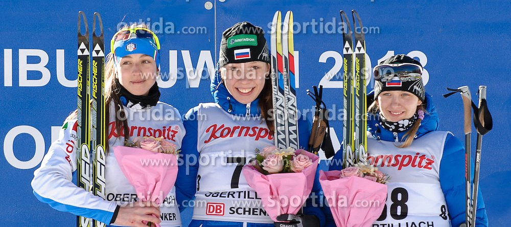 25.01.2013, Biathlonzentrum, Obertilliach AUT, IBU, Jugend und Junioren Weltmeisterchaften, Siegerehrung Sprint Jugend Damen, im Bild v.l.n.r. Dritter Platz Lisa Vittozzi (ITA), Gewinnerin Uliana Kaisheva (RUS) und Dritter Platz Svetlana Mironova (RUS) // f.l.t.r. 2nd place Lisa Vittozzi from Italy, winner Uliana Kaisheva from Russia and 3rd place Svetlana Mironova from Russia during the winning ceremony of Sprint Youth Womens of IBU Youth  and Juniors World Championships at Biathloncenter, Obertilliach, Austria on 2013/01/25 . EXPA Pictures © 2013, PhotoCredit: EXPA/ Michael Gruber
