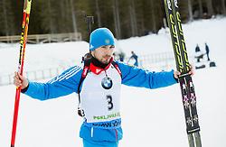 Winner SHIPULIN Anton (RUS) celebrates at medal ceremony after the Men 15 km Mass Start at day 4 of IBU Biathlon World Cup 2014/2015 Pokljuka, on December 21, 2014 in Rudno polje, Pokljuka, Slovenia. Photo by Vid Ponikvar / Sportida