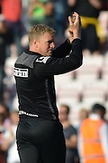 Bournemouth Manager Eddie Howe thanks fans during the Barclays Premier League match between Bournemouth and Sunderland at the Goldsands Stadium, Bournemouth, England on 19 September 2015. Photo by Mark Davies.