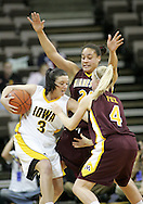 25 JANUARY 2007: Iowa guard Abby Emmert (3) tries to keep the ball away from Minnesota guard Emily Fox (4) in Iowa's 80-78 overtime loss to Minnesota at Carver-Hawkeye Arena in Iowa City, Iowa on January 25, 2007.