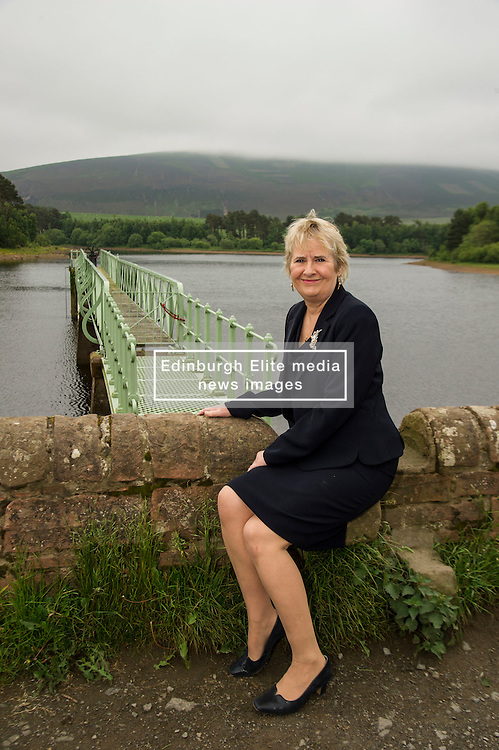 Pictured: Roseanna Cunningham, MSP<br /> <br /> The Climate Change Secretary,  Roseanna Cunningham, MSP, today toured Harlaw hydro project near Balerno at the same time as Scottish greenhouse gas emissions statistics were released. <br /> Ger Harley   EEm 14 June 2016