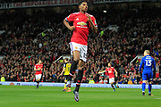 Manchester United striker Marcus Rashford (19) celebrates scoring his first goal of the night (1-0) during the EFL Cup match between Manchester United and Burton Albion at Old Trafford, Manchester, England on 19 September 2017. Photo by Richard Holmes.