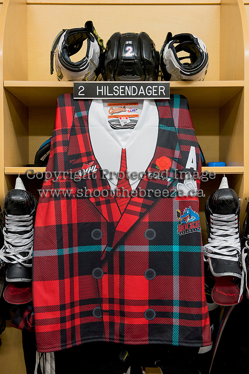 KELOWNA, CANADA - MARCH 10: The locker of James Hilsendager #2 of the Kelowna Rockets on March 10, 2018 at Prospera Place in Kelowna, British Columbia, Canada.  (Photo by Marissa Baecker/Shoot the Breeze)  *** Local Caption ***