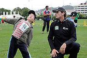 Kyle Miils watches a fan at the National Bank's Cricket Super Camp , University oval, Dunedin, New Zealand. Thursday 2 February 2012 . Photo: Richard Hood photosport.co.nz