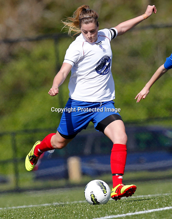 Auckland's Tessa Berger gets a run on. ASB National Women's Youth League, Auckland Football v Northern Conference Development, Parrs Park Oratia, Sunday 16th October 2011. Photo: Shane Wenzlick