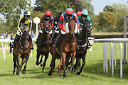 A tightly packed group of runners during Uttoxeter Races at Uttoxeter Racecourse, Uttoxeter, United Kingdom on 30 July 2017. Photo by John Potts.