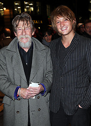 John Hurt and his son Nick arriving for the press night of the Barry Humphries' Farewell Tour;  Eat, Pray, Laugh, at the London Palladium, Friday, 15th November 2013. Picture by Stephen Lock / i-Images