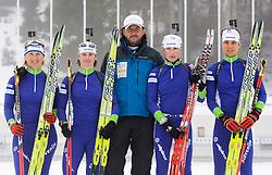 Tadeja Brankovic Likozar, Andreja Mali, Tomas Kos, Dijana Grudicek Ravnikar and Teja Gregorin of Slovenian women biathlon team before new season 2009/2010,  on November 16, 2009, in Pokljuka, Slovenia.   (Photo by Vid Ponikvar / Sportida)
