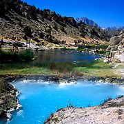 The Benton Hot Springs in Mammoth Lakes, California provide soaking relief in the scenic Sierra Mountains.Portions of the hot springs. like foreground above, are scalding hot and off limits.