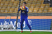 Chelsea Goalkeeper Kepa Arrizabalaga warms up during the Premier League match between Wolverhampton Wanderers and Chelsea at Molineux, Wolverhampton, England on 5 December 2018.