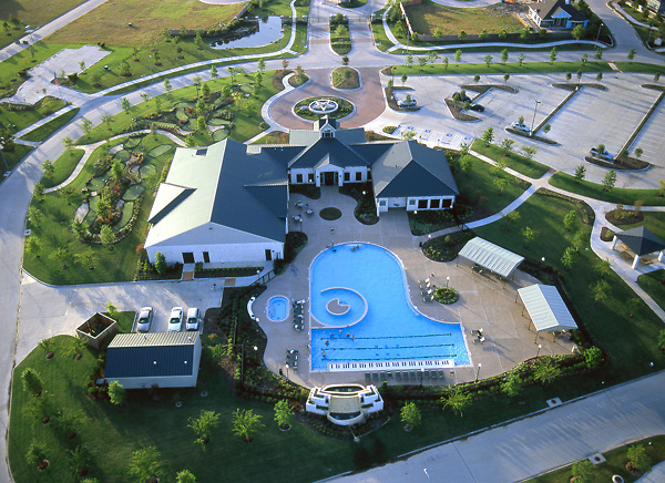 Stock photo of an aerial view of the Cinco Ranch neighborhood clubhouse in Houston Texas