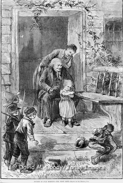 "Vintage Illustration from Harper's Weekly July 14, 1879.  Kids with toy guns, a young woman and old man celebrate the 4th of July. A very young white girl  shoots at a black boy with toy pop gun while the boys look on ""Fourth of July Morning - The First Shot"" by Sol Eytinge"