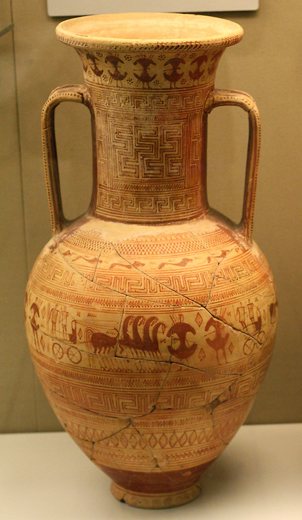 Monumental amphora (storage jar) decorated with a network of meander and other patterns, and three friezes of human and animal figures. Geometric, made in Athens 735-720 BC; attributed to the Anavysos Painter. The main figure scene encircling the wildest part of the vase shows men and horse-drawn chariots advancing into battle.