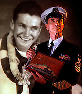 """Jesse Dunnagan waded through oil and dead bodies to recover a scrapbook from his locker inside the USS California after the attack on Pearl Harbor. Dunnagan was a seaman first class assigned as a gunner on the battleship docked at the head of """"Battleship Row,"""" facing the harbor and the incoming warplanes on December 7, 1941."""
