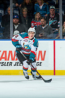 KELOWNA, CANADA - FEBRUARY 24: Marek Skvrne #9 of the Kelowna Rockets skates with the puck against the Kamloops Blazers  on February 24, 2018 at Prospera Place in Kelowna, British Columbia, Canada.  (Photo by Marissa Baecker/Shoot the Breeze)  *** Local Caption ***