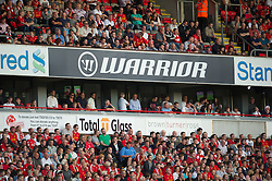 LIVERPOOL, ENGLAND - Thursday, August 9, 2012: Warrior branding at Anfield, Liverpool's new kit supplier, during the UEFA Europa League Third Qualifying Round 2nd Leg match against FC Gomel at Anfield. (Pic by David Rawcliffe/Propaganda)
