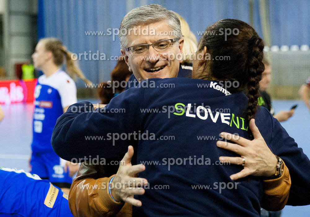Franjo Bobinac president of RZS with Branka Zec during handball match between Women National teams of Slovenia and Serbia in 2nd Round of Qualifications for 2014 EHF European Championship on October 27, 2013 in Hala Tivoli, Ljubljana, Slovenia. Slovenia defeated Serbia 31-26. (Photo by Vid Ponikvar / Sportida)