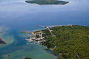 Aerial view of Washington Island, Door County, Wisconsin; Plum Island appears at the top of the photograph.